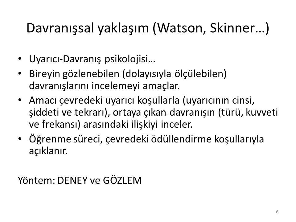 Davranışsal yaklaşım (Watson, Skinner…) Uyarıcı-Davranış psikolojisi… Bireyin gözlenebilen (dolayısıyla ölçülebilen) davranışlarını incelemeyi amaçlar
