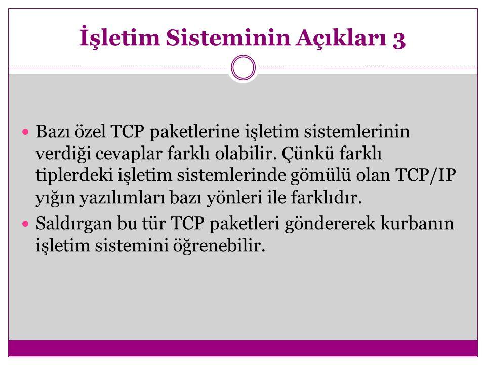 İşletim Sisteminin Açıkları 3 Bazı özel TCP paketlerine işletim sistemlerinin verdiği cevaplar farklı olabilir. Çünkü farklı tiplerdeki işletim sistem