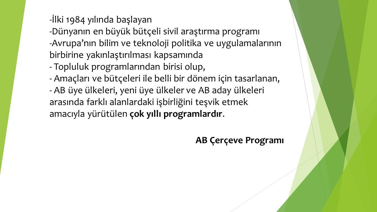 -İlki 1984 yılında başlayan -Dünyanın en büyük bütçeli sivil araştırma programı -Avrupa'nın bilim ve teknoloji politika ve uygulamalarının birbirine y