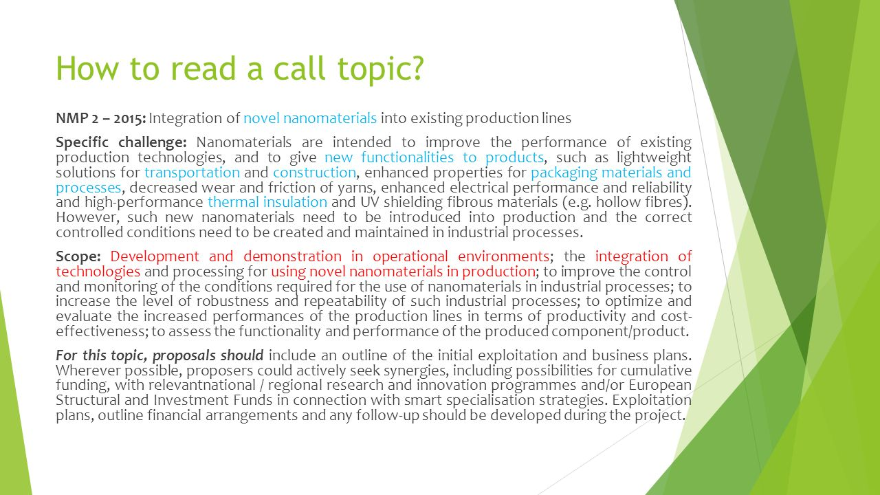 How to read a call topic.