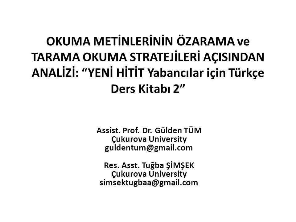OKUMA METİNLERİNİN ÖZARAMA ve TARAMA OKUMA STRATEJİLERİ AÇISINDAN ANALİZİ: YENİ HİTİT Yabancılar için Türkçe Ders Kitabı 2 Assist.