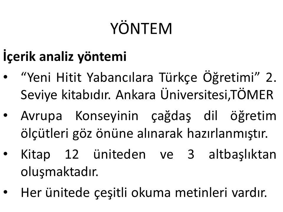YÖNTEM İçerik analiz yöntemi Yeni Hitit Yabancılara Türkçe Öğretimi 2.