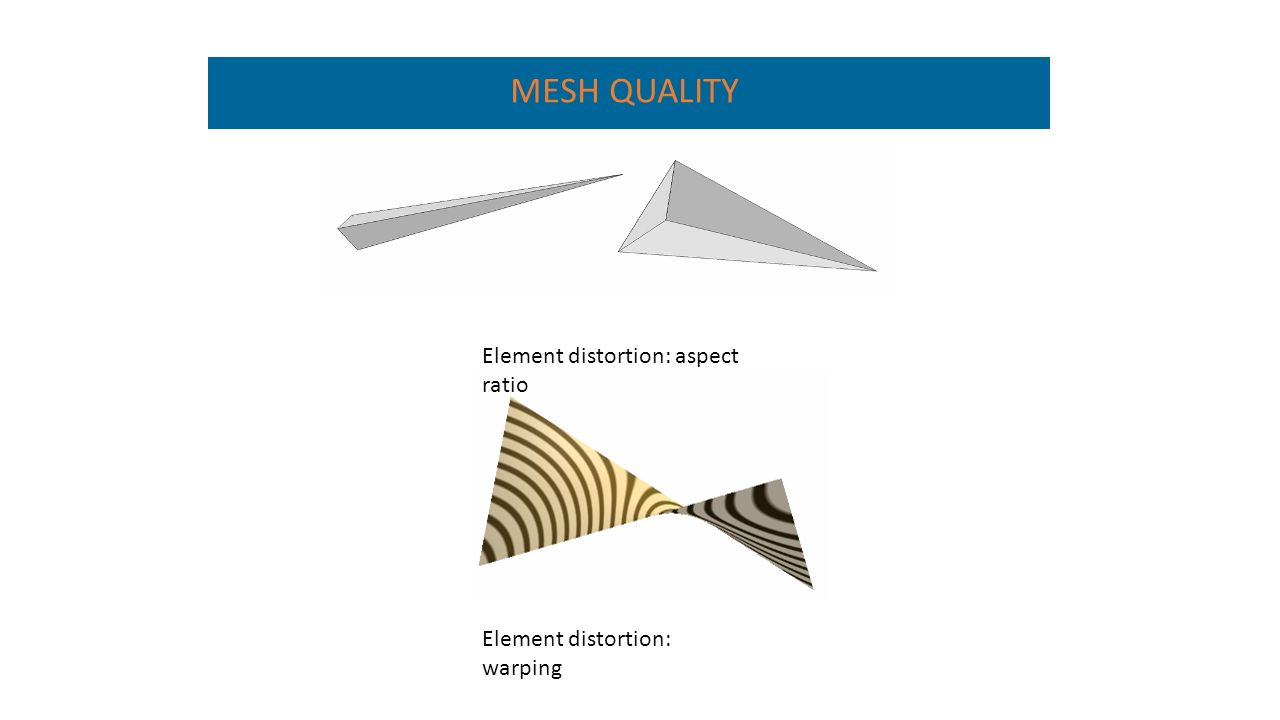 Element distortion: aspect ratio Element distortion: warping MESH QUALITY