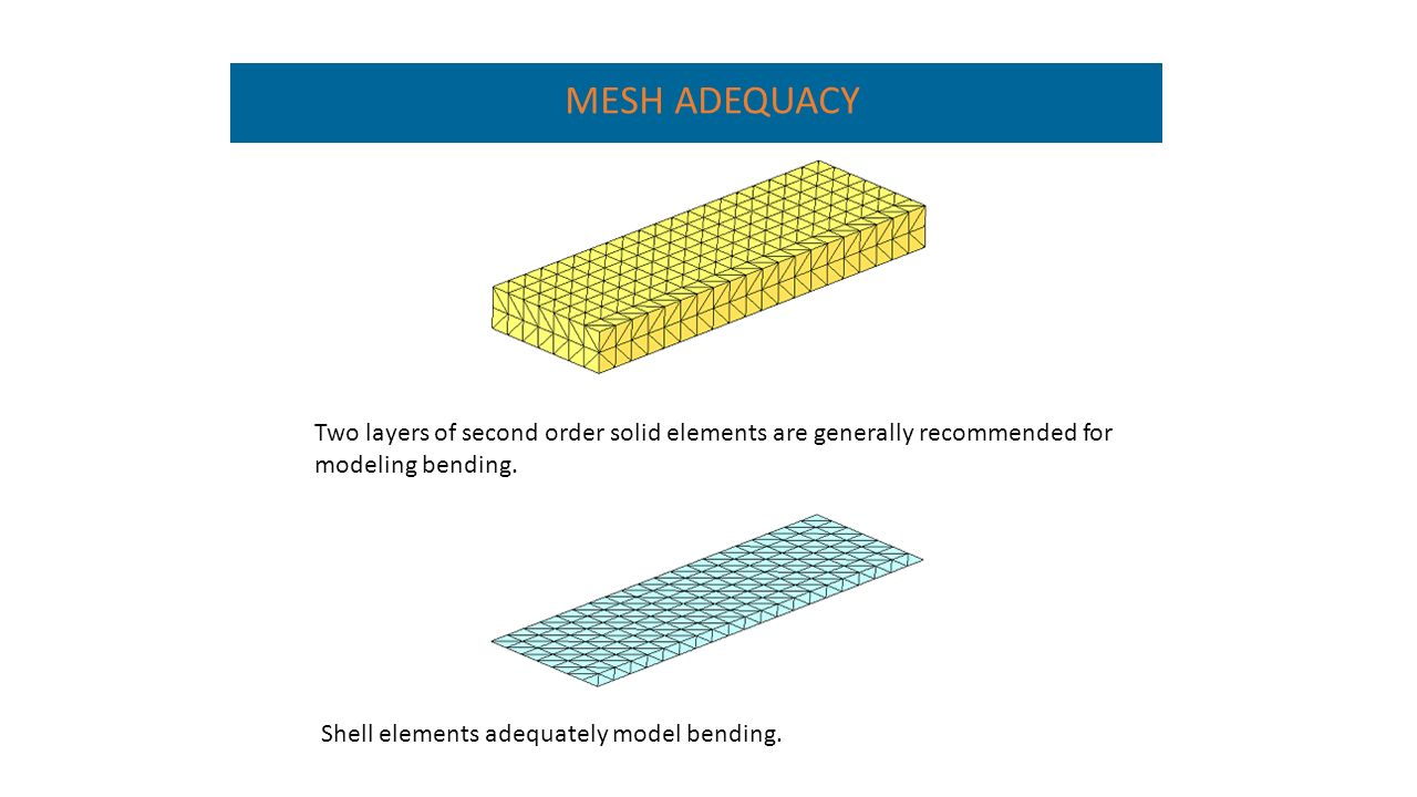 Two layers of second order solid elements are generally recommended for modeling bending.