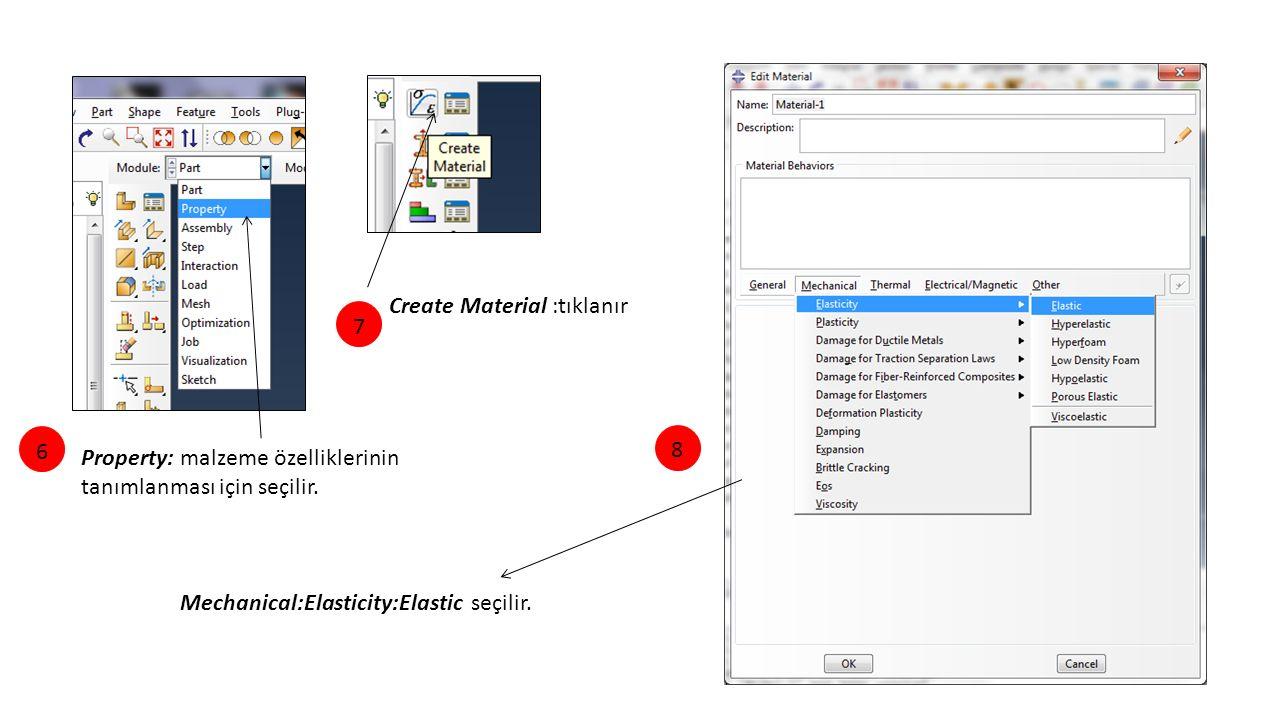 Property: malzeme özelliklerinin tanımlanması için seçilir. Create Material :tıklanır Mechanical:Elasticity:Elastic seçilir. 678