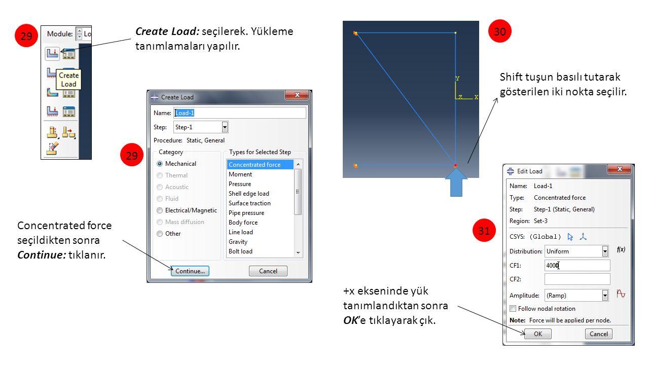 Create Load: seçilerek. Yükleme tanımlamaları yapılır. Shift tuşun basılı tutarak gösterilen iki nokta seçilir. 29 3031 Concentrated force seçildikten