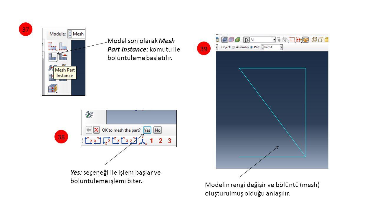 373839 Model son olarak Mesh Part Instance: komutu ile bölüntüleme başlatılır. Yes: seçeneği ile işlem başlar ve bölüntüleme işlemi biter. Modelin ren
