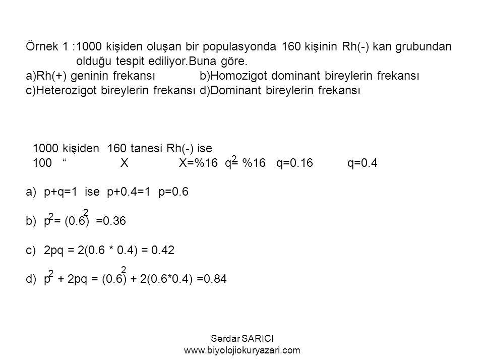 Örnek 1 :1000 kişiden oluşan bir populasyonda 160 kişinin Rh(-) kan grubundan olduğu tespit ediliyor.Buna göre.