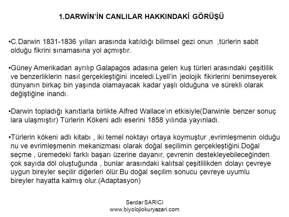C.Darwin 1831-1836 yılları arasında katıldığı bilimsel gezi onun,türlerin sabit olduğu fikrini sınamasına yol açmıştır.