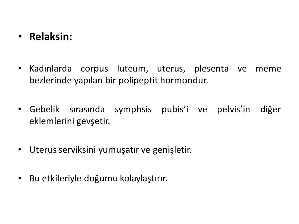 Relaksin: Kadınlarda corpus luteum, uterus, plesenta ve meme bezlerinde yapılan bir polipeptit hormondur. Gebelik sırasında symphsis pubis'i ve pelvis