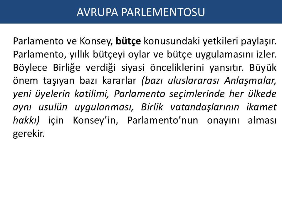 AVRUPA PARLEMENTOSU Parlamento ve Konsey, bütçe konusundaki yetkileri paylaşır. Parlamento, yıllık bütçeyi oylar ve bütçe uygulamasını izler. Böylece