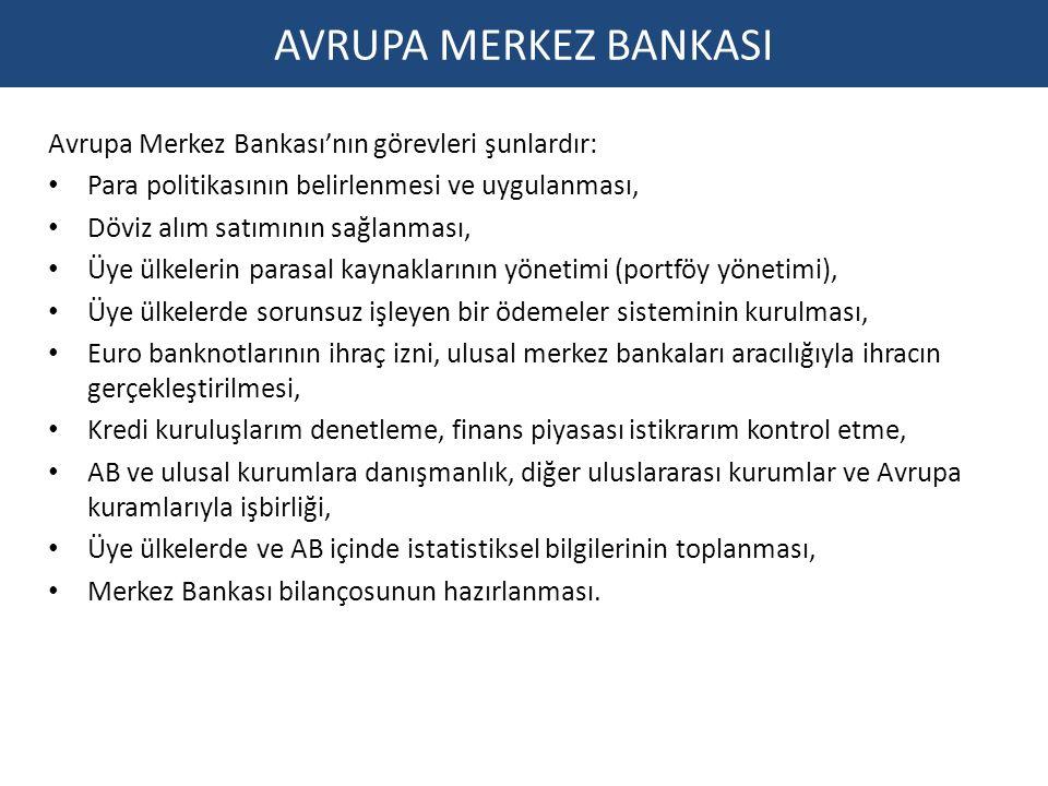 AVRUPA MERKEZ BANKASI Avrupa Merkez Bankası'nın görevleri şunlardır: Para politikasının belirlenmesi ve uygulanması, Döviz alım satımının sağlanması,