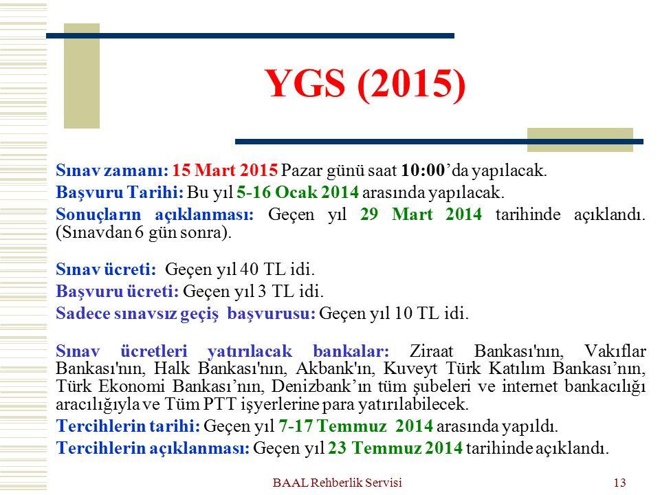 YGS (2015) Sınav zamanı: 15 Mart 2015 Pazar günü saat 10:00'da yapılacak. Başvuru Tarihi: Bu yıl 5-16 Ocak 2014 arasında yapılacak. Sonuçların açıklan