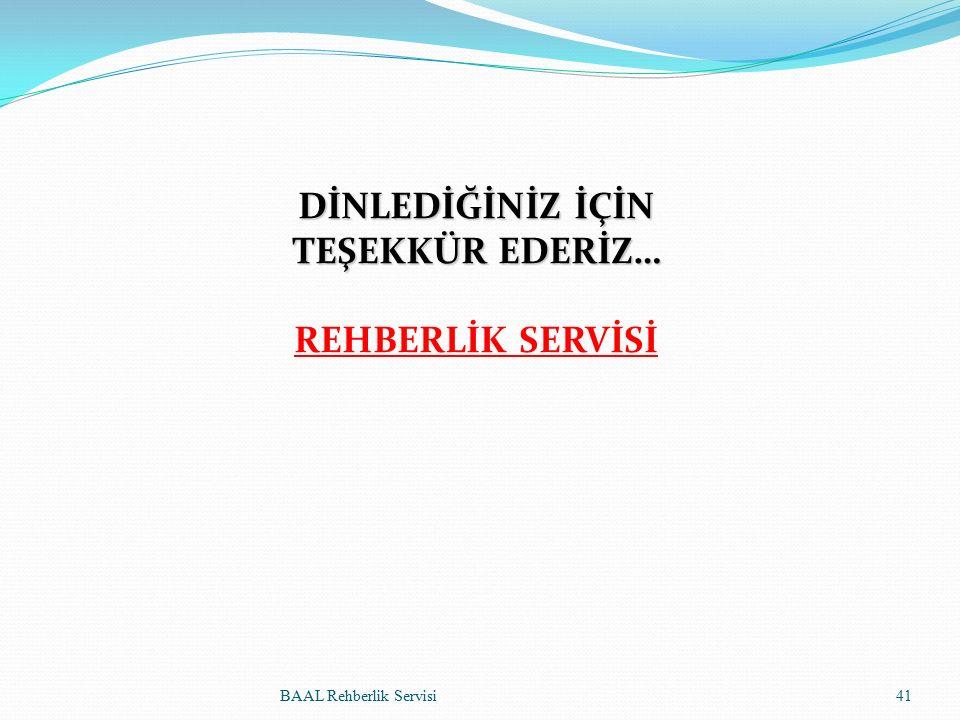DİNLEDİĞİNİZ İÇİN TEŞEKKÜR EDERİZ… REHBERLİK SERVİSİ BAAL Rehberlik Servisi41