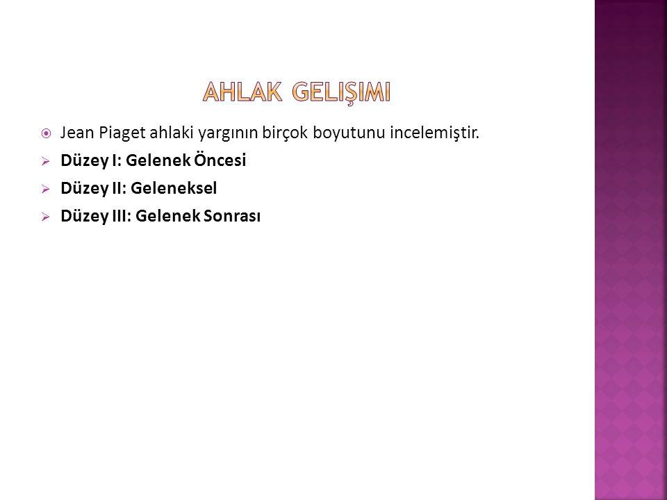  Jean Piaget ahlaki yargının birçok boyutunu incelemiştir.