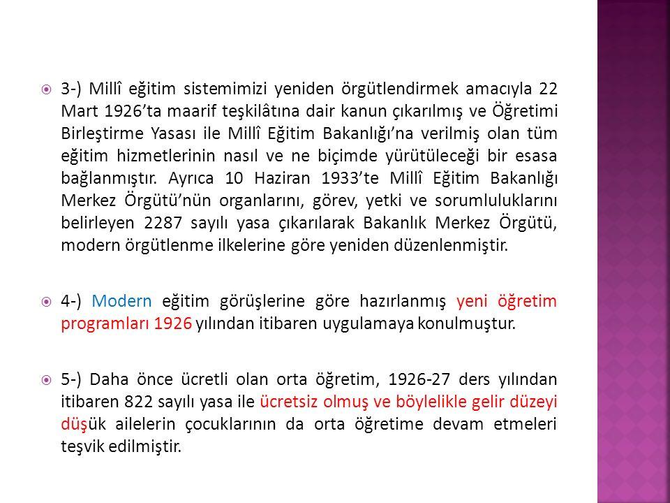  3-) Millî eğitim sistemimizi yeniden örgütlendirmek amacıyla 22 Mart 1926'ta maarif teşkilâtına dair kanun çıkarılmış ve Öğretimi Birleştirme Yasası ile Millî Eğitim Bakanlığı'na verilmiş olan tüm eğitim hizmetlerinin nasıl ve ne biçimde yürütüleceği bir esasa bağlanmıştır.