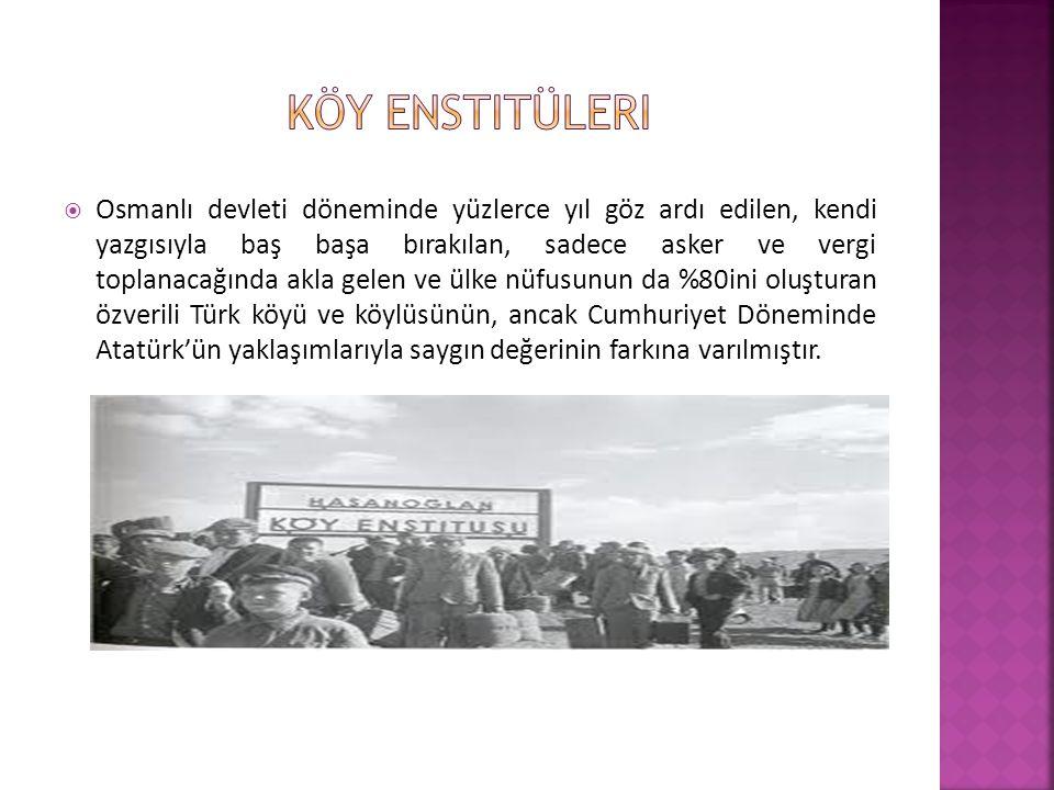  Osmanlı devleti döneminde yüzlerce yıl göz ardı edilen, kendi yazgısıyla baş başa bırakılan, sadece asker ve vergi toplanacağında akla gelen ve ülke nüfusunun da %80ini oluşturan özverili Türk köyü ve köylüsünün, ancak Cumhuriyet Döneminde Atatürk'ün yaklaşımlarıyla saygın değerinin farkına varılmıştır.