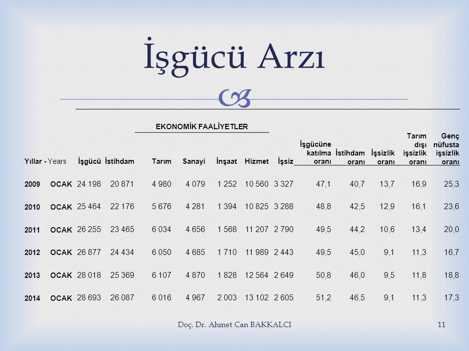  Doç. Dr. Ahmet Can BAKKALCI11 İşgücü Arzı Yıllar - Yearsİşgücüİstihdam İşsiz İşgücüne katılma oranı İstihdam oranı İşsizlik oranı Tarım dışı işsizli