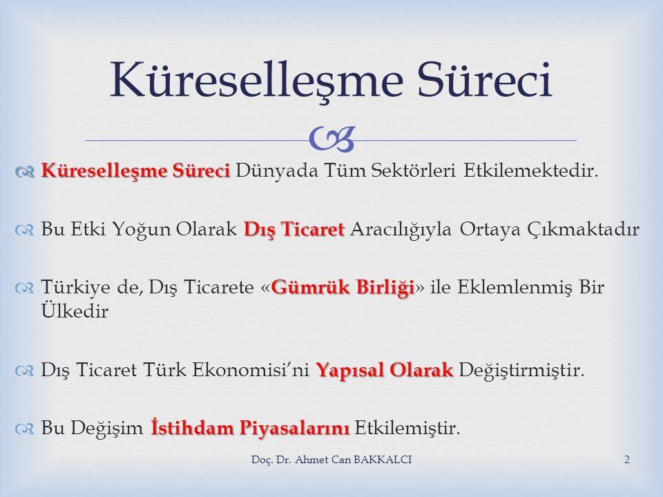   Schumpeter'in yaratıcı yok etme olarak adlandırdığı sürecin Türkiye için de başladığını söyleyebilmek olanaklıdır.