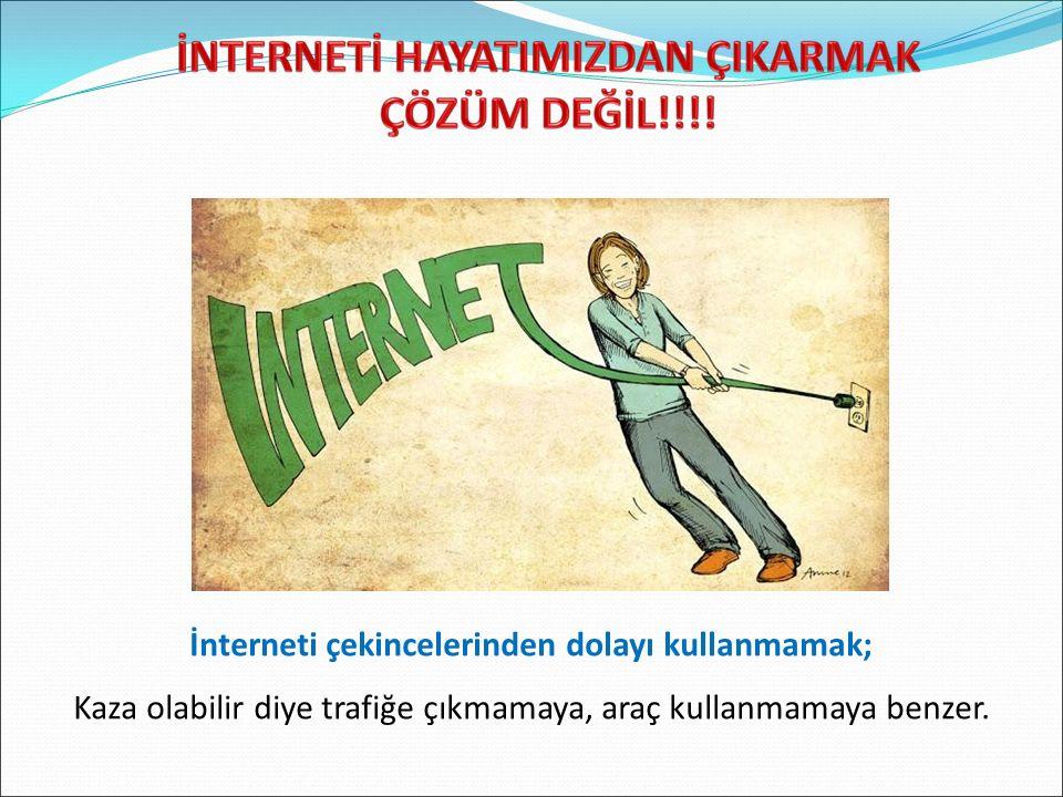 İnterneti çekincelerinden dolayı kullanmamak; Kaza olabilir diye trafiğe çıkmamaya, araç kullanmamaya benzer.