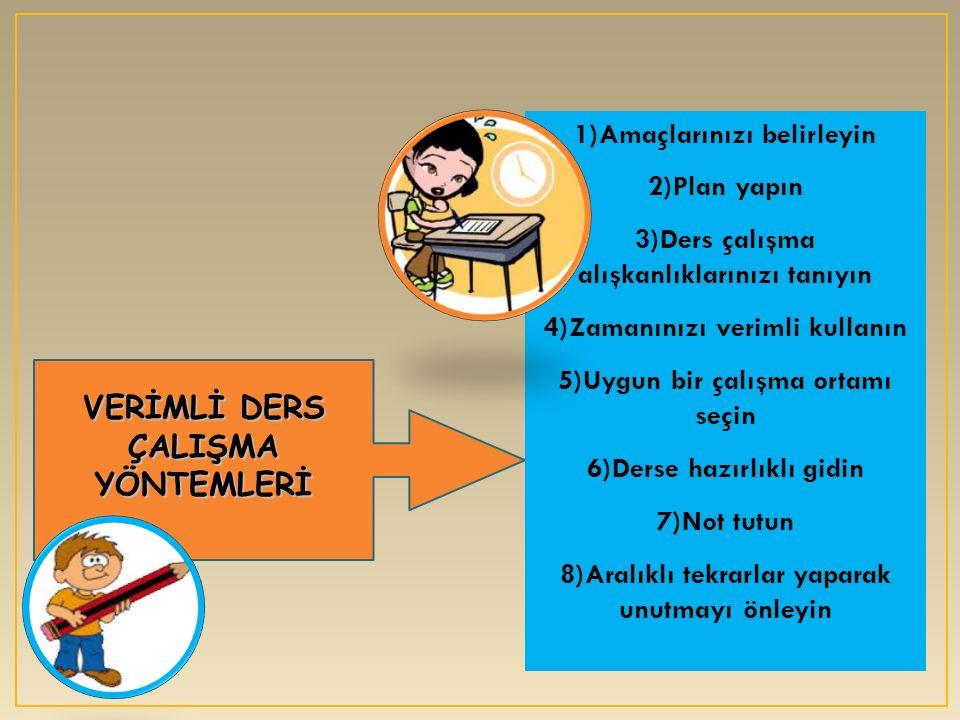 VERİMLİ DERS ÇALIŞMA YÖNTEMLERİ 1)Amaçlarınızı belirleyin 2)Plan yapın 3)Ders çalışma alışkanlıklarınızı tanıyın 4)Zamanınızı verimli kullanın 5)Uygun bir çalışma ortamı seçin 6)Derse hazırlıklı gidin 7)Not tutun 8)Aralıklı tekrarlar yaparak unutmayı önleyin