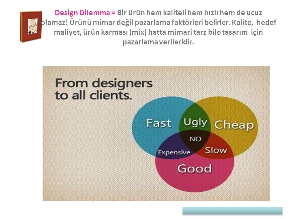 Design Dilemma = Bir ürün hem kaliteli hem hızlı hem de ucuz olamaz! Ürünü mimar değil pazarlama faktörleri belirler. Kalite, hedef maliyet, ürün karm