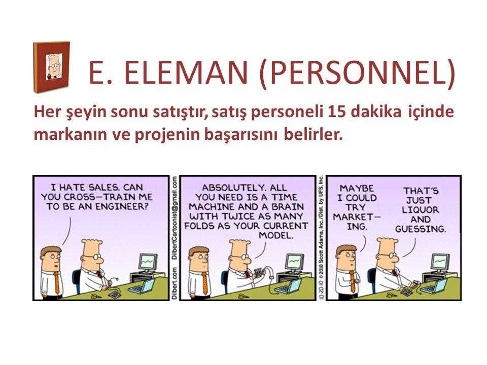 E. ELEMAN (PERSONNEL) Her şeyin sonu satıştır, satış personeli 15 dakika içinde markanın ve projenin başarısını belirler.