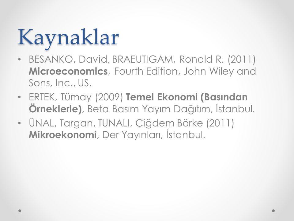 Kaynaklar BESANKO, David, BRAEUTIGAM, Ronald R. (2011) Microeconomics, Fourth Edition, John Wiley and Sons, Inc., US. ERTEK, Tümay (2009) Temel Ekonom