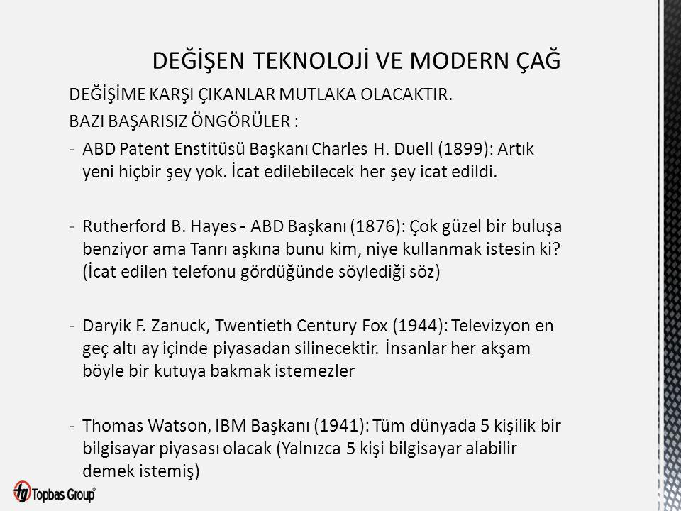 DEĞİŞİME KARŞI ÇIKANLAR MUTLAKA OLACAKTIR. BAZI BAŞARISIZ ÖNGÖRÜLER : -ABD Patent Enstitüsü Başkanı Charles H. Duell (1899): Artık yeni hiçbir şey yok