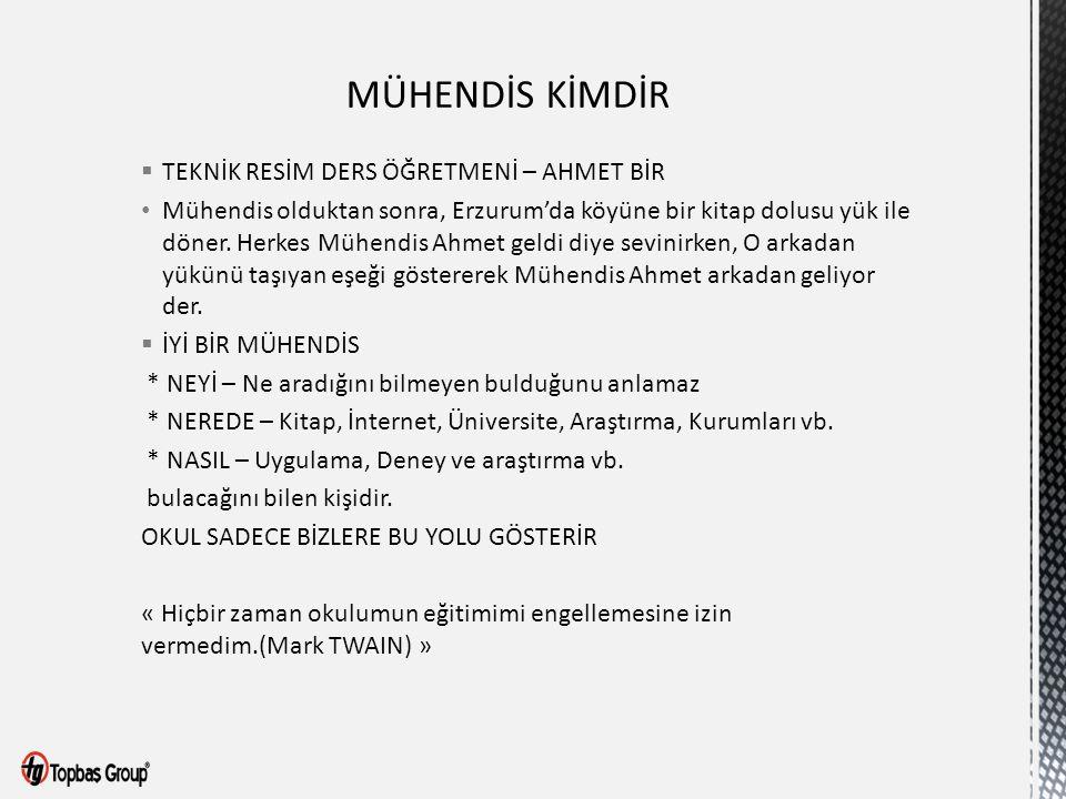  TEKNİK RESİM DERS ÖĞRETMENİ – AHMET BİR Mühendis olduktan sonra, Erzurum'da köyüne bir kitap dolusu yük ile döner. Herkes Mühendis Ahmet geldi diye
