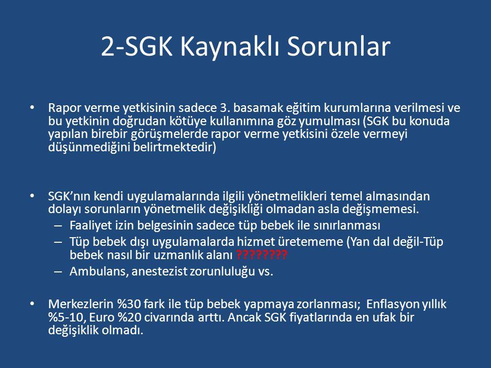2-SGK Kaynaklı Sorunlar Rapor verme yetkisinin sadece 3. basamak eğitim kurumlarına verilmesi ve bu yetkinin doğrudan kötüye kullanımına göz yumulması