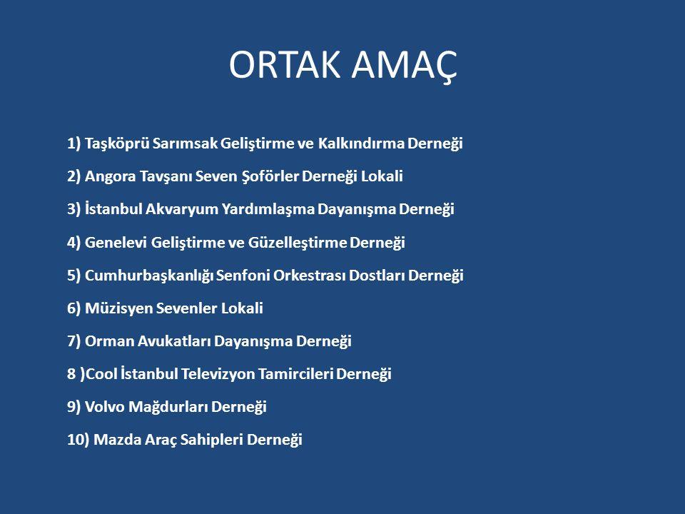 ORTAK AMAÇ 1) Taşköprü Sarımsak Geliştirme ve Kalkındırma Derneği 2) Angora Tavşanı Seven Şoförler Derneği Lokali 3) İstanbul Akvaryum Yardımlaşma Day