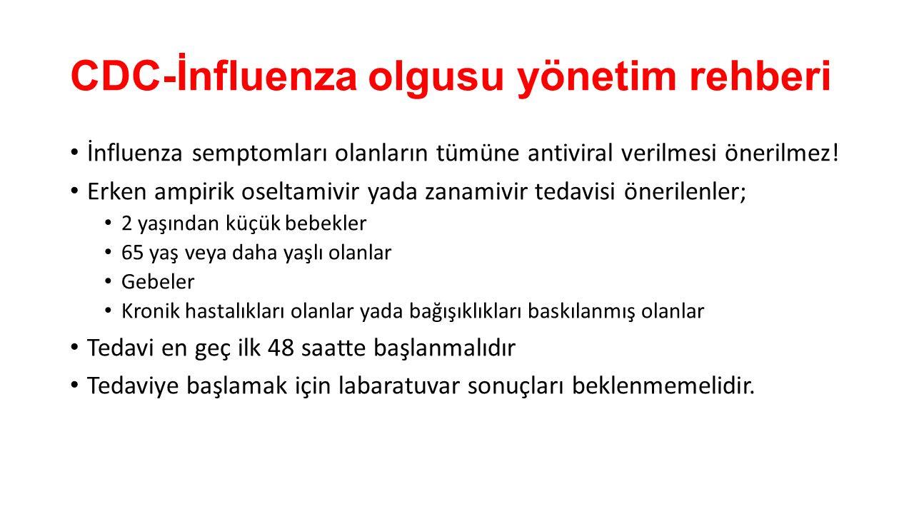 CDC-İnfluenza olgusu yönetim rehberi İnfluenza semptomları olanların tümüne antiviral verilmesi önerilmez! Erken ampirik oseltamivir yada zanamivir te