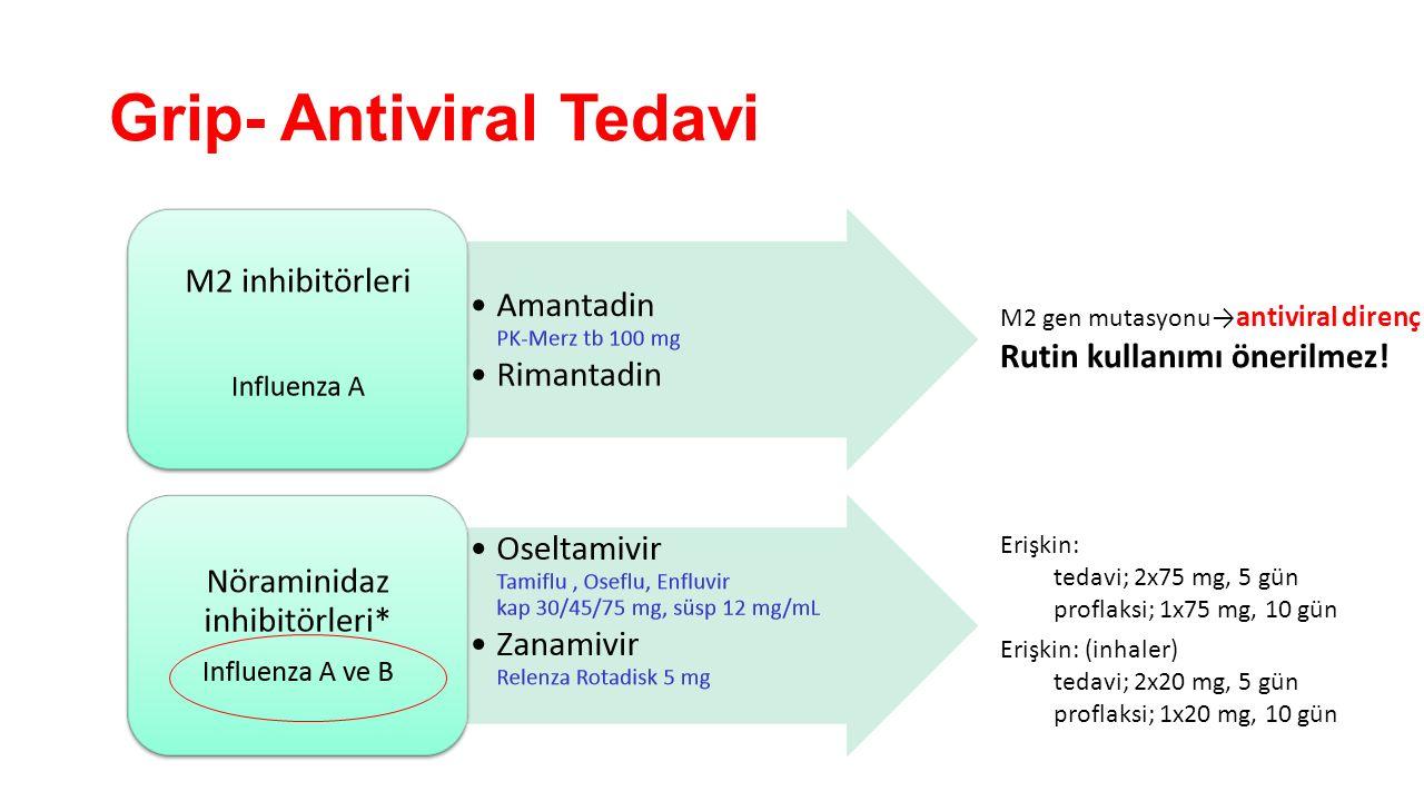 Grip- Antiviral Tedavi M2 gen mutasyonu→ antiviral direnç Rutin kullanımı önerilmez! Erişkin: tedavi; 2x75 mg, 5 gün proflaksi; 1x75 mg, 10 gün Erişki