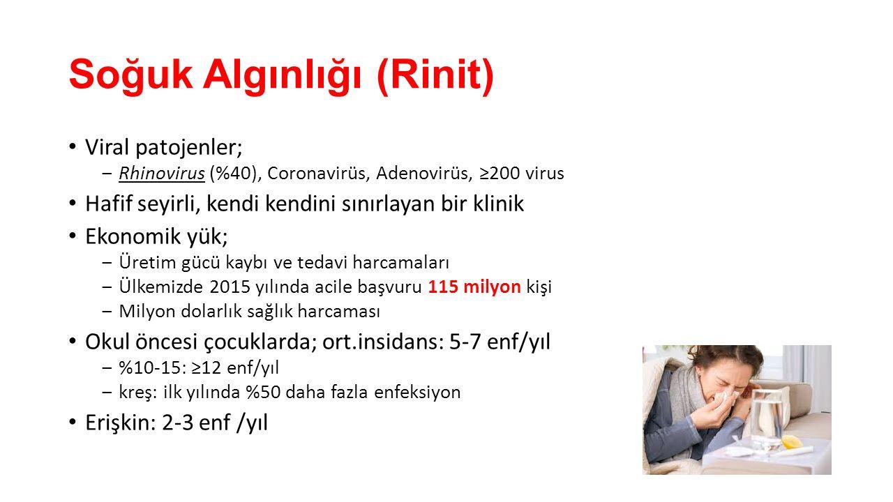 Viral patojenler; ‒Rhinovirus (%40), Coronavirüs, Adenovirüs, ≥200 virus Hafif seyirli, kendi kendini sınırlayan bir klinik Ekonomik yük; ‒Üretim gücü