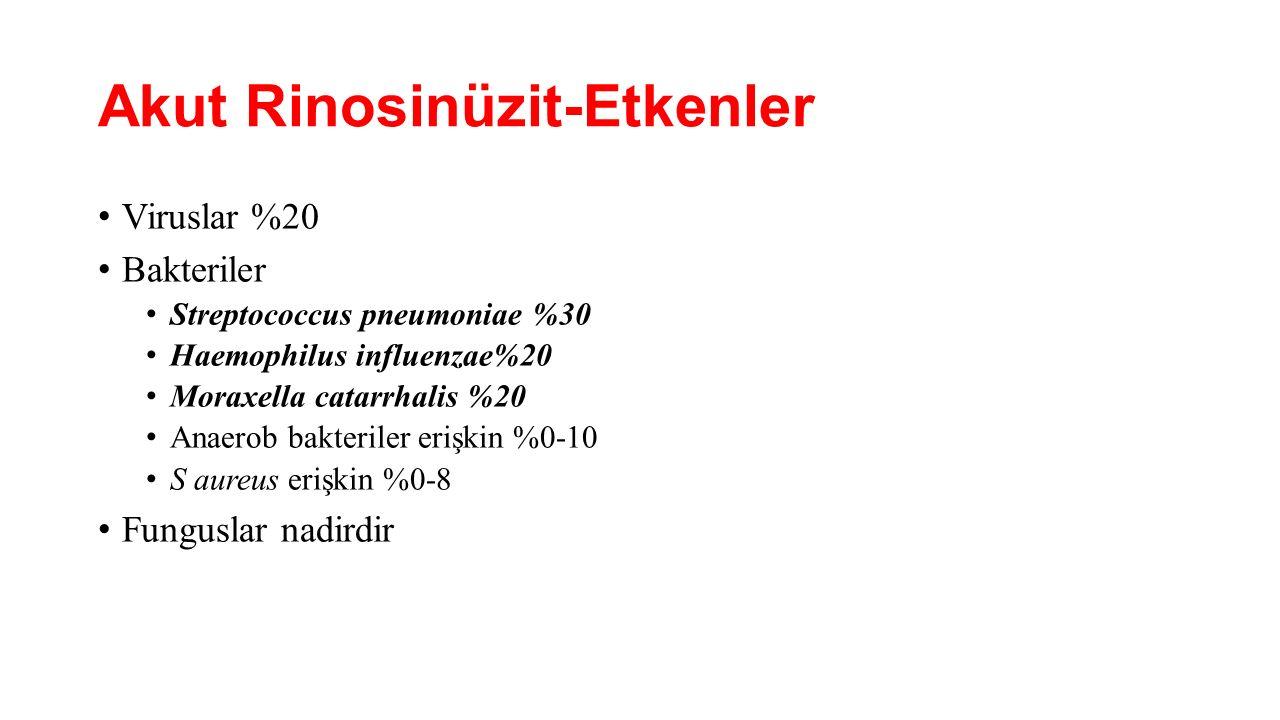 Akut Rinosinüzit-Etkenler Viruslar %20 Bakteriler Streptococcus pneumoniae %30 Haemophilus influenzae%20 Moraxella catarrhalis %20 Anaerob bakteriler