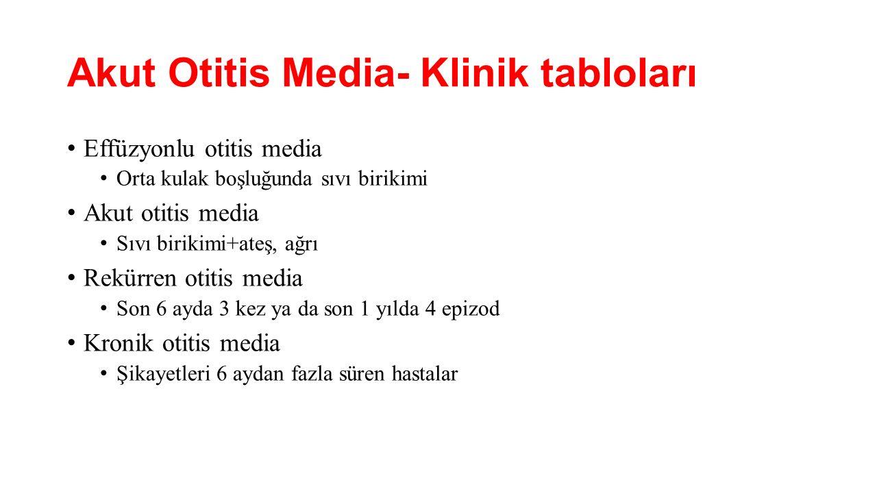 Akut Otitis Media- Klinik tabloları Effüzyonlu otitis media Orta kulak boşluğunda sıvı birikimi Akut otitis media Sıvı birikimi+ateş, ağrı Rekürren ot