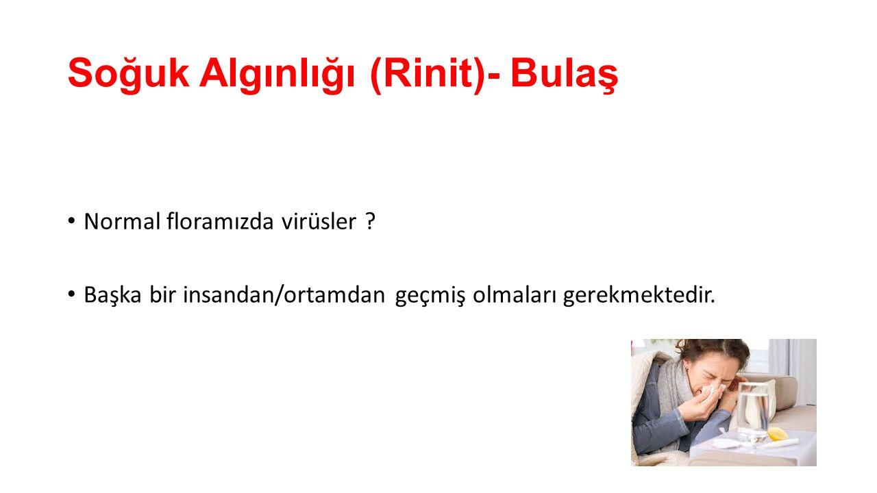 Soğuk Algınlığı (Rinit)- Bulaş Normal floramızda virüsler ? Başka bir insandan/ortamdan geçmiş olmaları gerekmektedir.