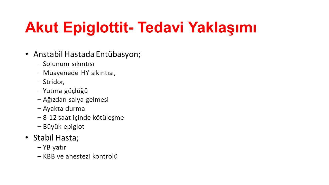 Akut Epiglottit- Tedavi Yaklaşımı Anstabil Hastada Entübasyon; – Solunum sıkıntısı – Muayenede HY sıkıntısı, – Stridor, – Yutma güçlüğü – Ağızdan saly
