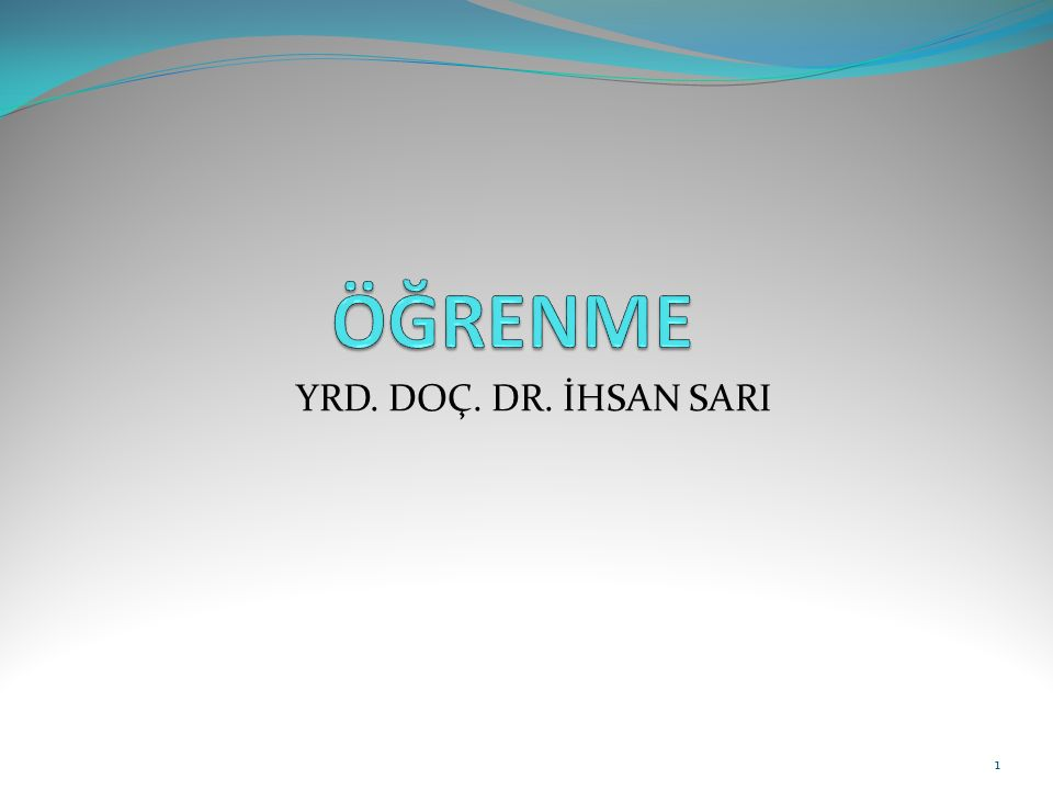 YRD. DOÇ. DR. İHSAN SARI 1