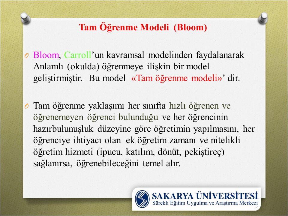 Tam Öğrenme Modeli (Bloom) O Bloom, Carroll'un kavramsal modelinden faydalanarak Anlamlı (okulda) öğrenmeye ilişkin bir model geliştirmiştir. Bu model