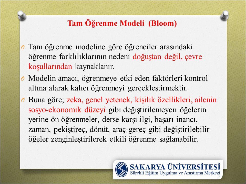 Tam Öğrenme Modeli (Bloom) O Tam öğrenme modeline göre öğrenciler arasındaki öğrenme farklılıklarının nedeni doğuştan değil, çevre koşullarından kaynaklanır.