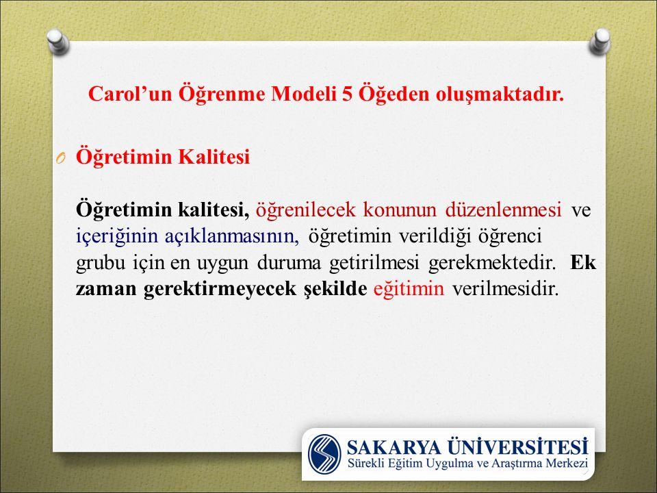 Carol'un Öğrenme Modeli 5 Öğeden oluşmaktadır. O Öğretimin Kalitesi Öğretimin kalitesi, öğrenilecek konunun düzenlenmesi ve içeriğinin açıklanmasının,