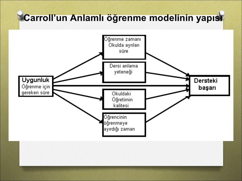 Carroll'un Anlamlı öğrenme modelinin yapısı