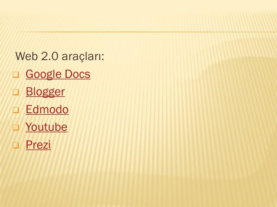 Web 2.0 araçları:  Google DocsGoogle Docs  BloggerBlogger  EdmodoEdmodo  YoutubeYoutube  PreziPrezi