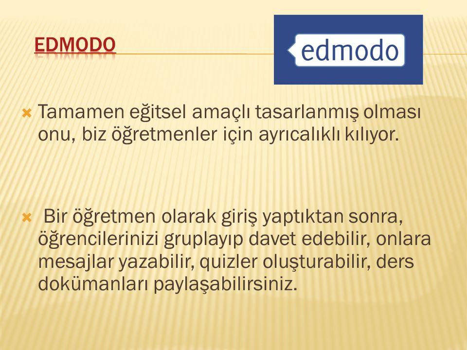 EDMODO, sosyal medyanın gücünü eğitim ve öğretim ortamında kullanmamıza imkân sağlar.