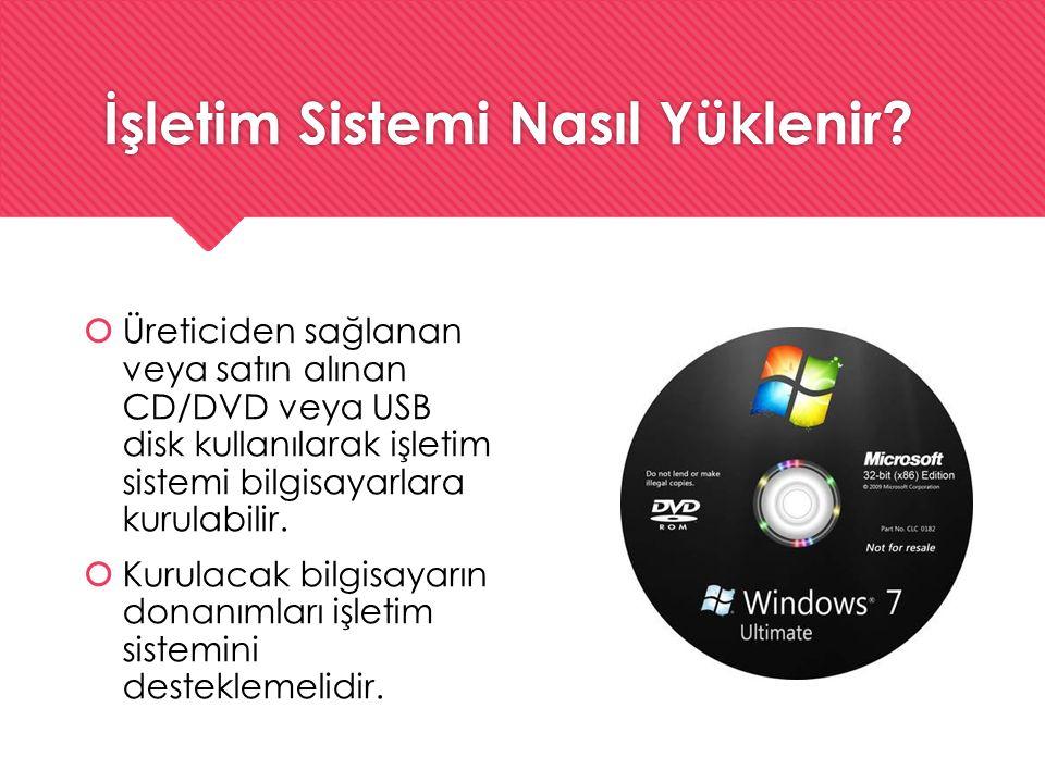 İşletim Sistemi Nasıl Yüklenir?  Üreticiden sağlanan veya satın alınan CD/DVD veya USB disk kullanılarak işletim sistemi bilgisayarlara kurulabilir.