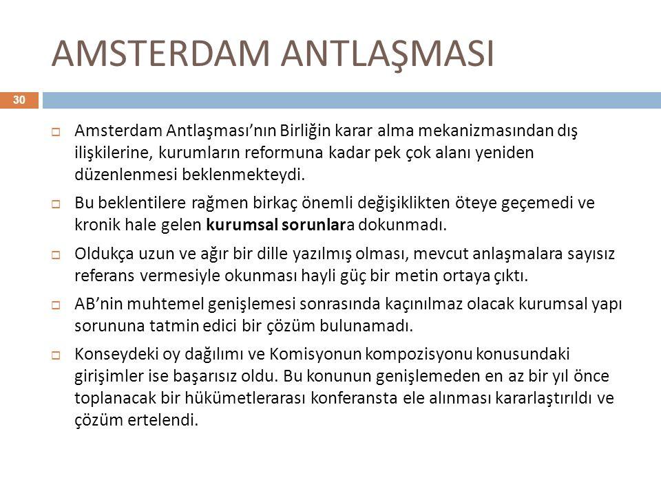 AMSTERDAM ANTLAŞMASI 30  Amsterdam Antlaşması'nın Birliğin karar alma mekanizmasından dış ilişkilerine, kurumların reformuna kadar pek çok alanı yeni