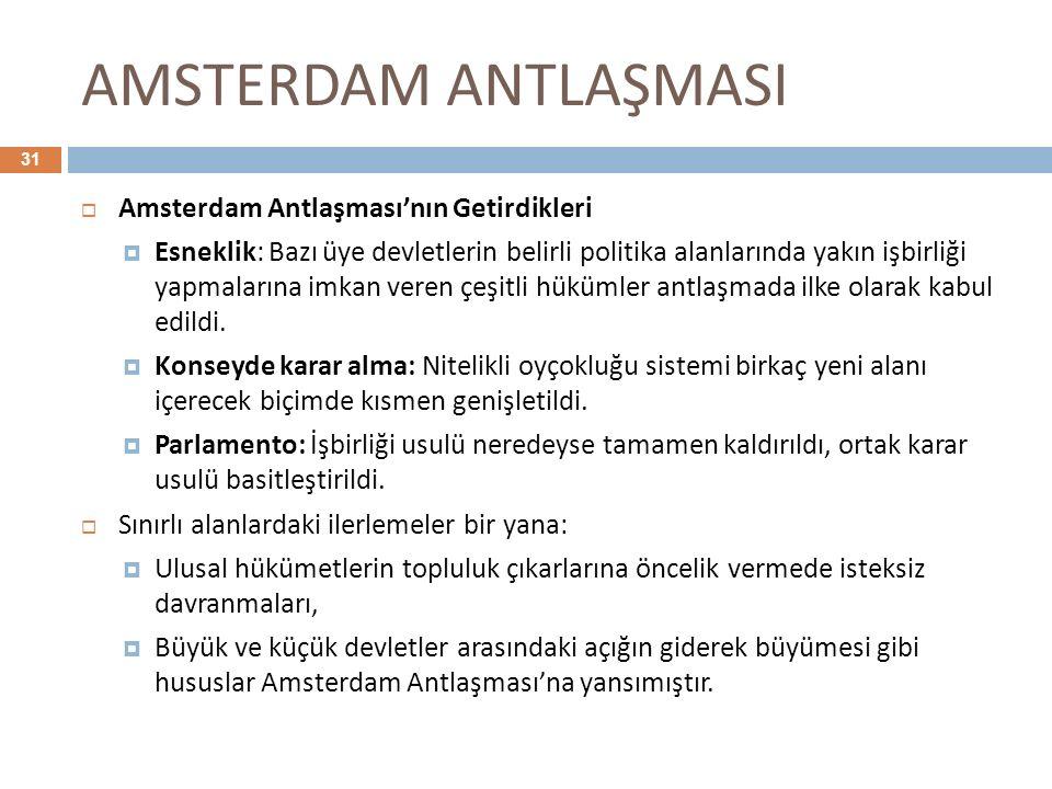 AMSTERDAM ANTLAŞMASI 31  Amsterdam Antlaşması'nın Getirdikleri  Esneklik: Bazı üye devletlerin belirli politika alanlarında yakın işbirliği yapmalar
