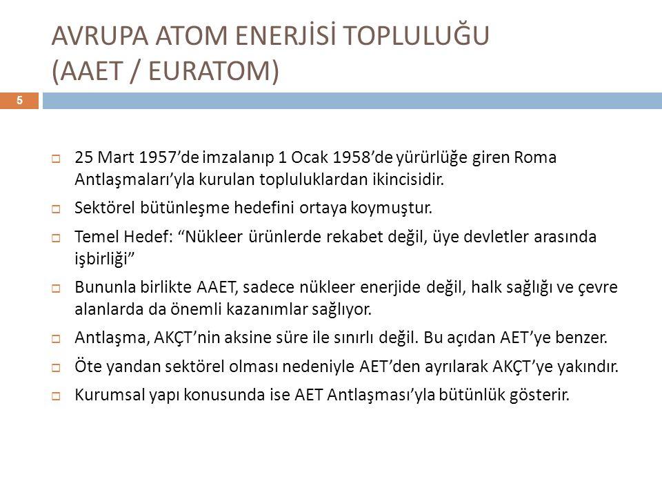 AVRUPA ATOM ENERJİSİ TOPLULUĞU (AAET / EURATOM)  25 Mart 1957'de imzalanıp 1 Ocak 1958'de yürürlüğe giren Roma Antlaşmaları'yla kurulan topluluklarda